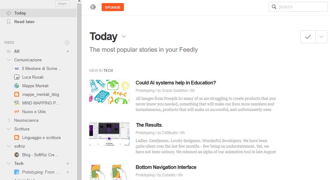 schermata principale di feedly dopo il login. a sinistra la navigazione tra i blog e a destra l'elenco delle notizie