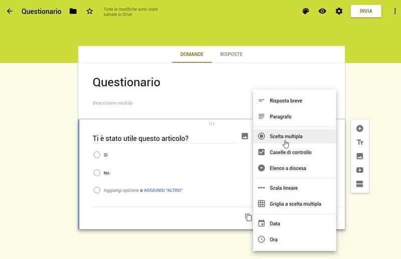 schermata di google moduli in cui si vede come creare un nuovo campo