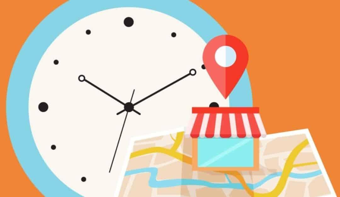 grafica di un attività locale e orologio