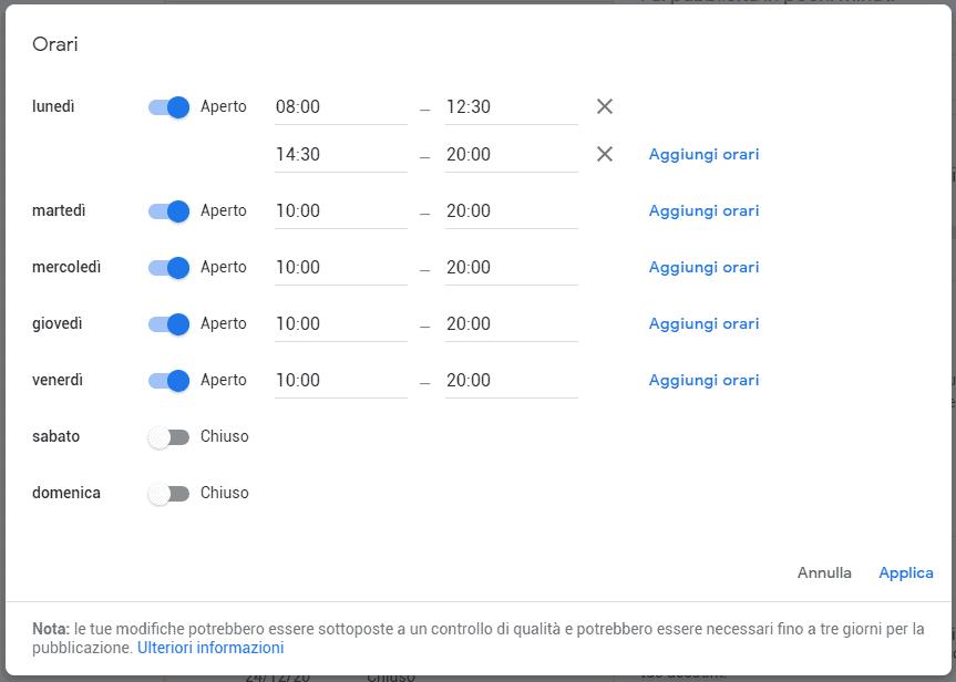 schermata orari google my business