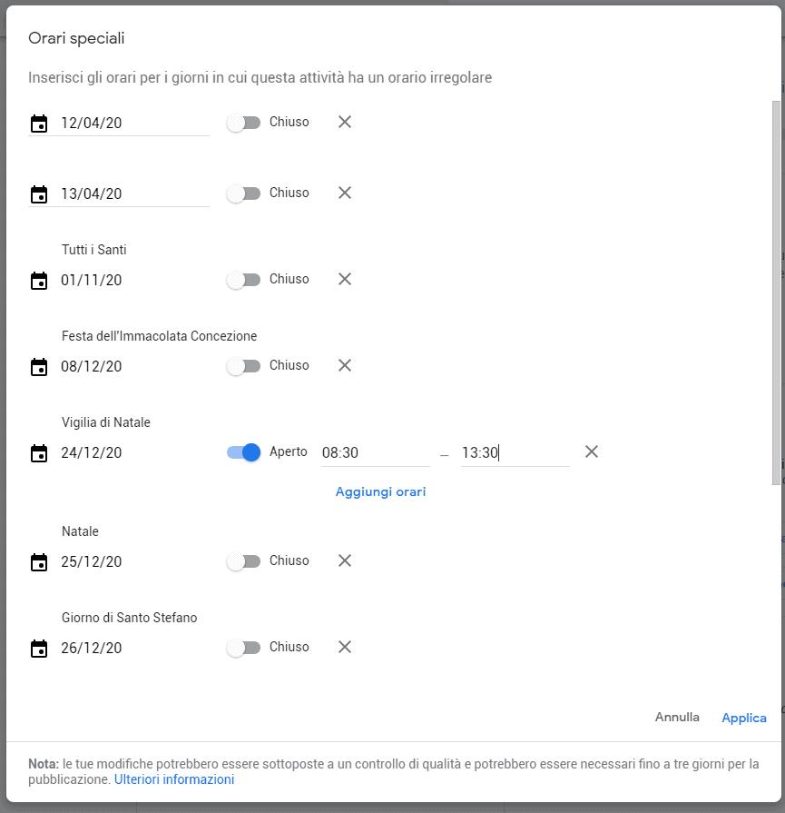 schermata orari speciali google my business