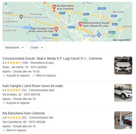 local pack google my business: esempi oper concessionari di auto