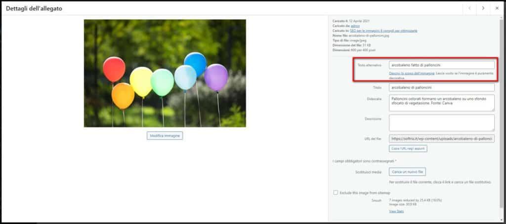 immagine nella libreria media di WordPress